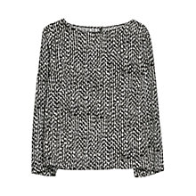 Buy Mango Monochrome Print Blouse, Black / White Online at johnlewis.com