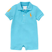 Buy Polo Ralph Lauren Baby Polo Romper, Blue Online at johnlewis.com