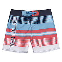 Buy Animal Children's Torrel Stripe Board Shorts, Indigo Online at johnlewis.com