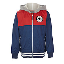 Buy Converse Boys' Colour Block Hooded Jacket, Navy/Red Online at johnlewis.com