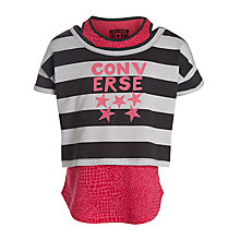 Buy Converse Girls' Stripe Double Layer Top, Pink/Multi Online at johnlewis.com