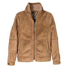 Buy Mango Kids Boys' Shearling Effect Lined Jacket, Brown Online at johnlewis.com
