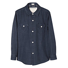 Buy Mango Kids Boys' Micro Check Shirt, Navy Online at johnlewis.com