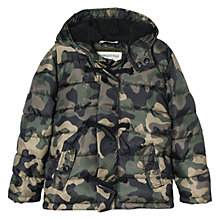 Buy Mango Kids Boys' Camouflage Print Coat, Khaki Online at johnlewis.com