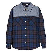 Buy Mango Kids Boys' Check Quilted Shirt, Bright Blue Online at johnlewis.com