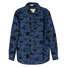 Buy Mango Kids Boys' Camouflage Print Shirt, Blue Online at johnlewis.com