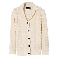 Buy Mango Kids Boys' Cable Knit Wool Blend Cardigan, Yellow Online at johnlewis.com