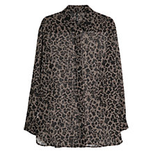 Buy Mango Leopard Print Blouse, Dark Beige Online at johnlewis.com