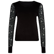 Buy Kaliko Lace Sleeve Knitted Jumper, Black Online at johnlewis.com