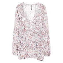 Buy Mango Floral Printed Flowy Blouse, Dark Red Online at johnlewis.com