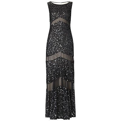 Gina Bacconi Long Sequin and Mesh Panel Dress, Black