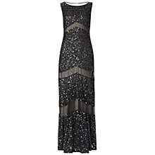 Buy Gina Bacconi Long Sequin and Mesh Panel Dress, Black Online at johnlewis.com