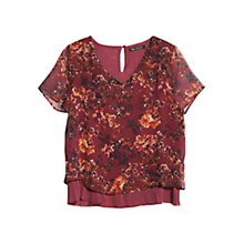 Buy Mango Floral Print Blouse, Dark Red Online at johnlewis.com