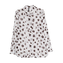 Buy Mango Print Chiffon Shirt, Dark Beige Online at johnlewis.com