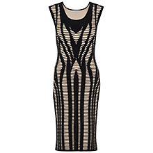 Buy Gina Bacconi Contrast Knitted Dress, Black/Beige Online at johnlewis.com
