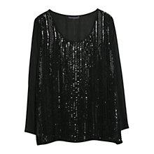 Buy Violeta by Mango Sequined Chiffon Blouse, Black Online at johnlewis.com