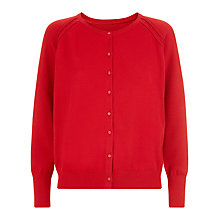 Buy Kaliko Satin Button Cardigan, Red Online at johnlewis.com