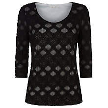Buy Kaliko Spot Lace Top, Black Online at johnlewis.com