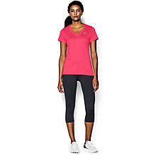 Buy Under Armour Tech Short Sleeve V-Neck T-Shirt, Pink Shock Online at johnlewis.com