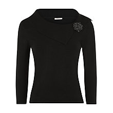 Buy Precis Petite Bardot Brooch Jumper, Black Online at johnlewis.com