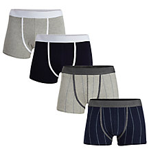 Buy Selected Homme Keith Trunks, Pack of 4, Grey Blue Online at johnlewis.com