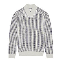 Buy Reiss Checker Textured Weave Jumper, Ecru Online at johnlewis.com