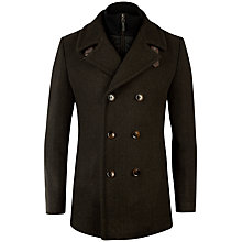 Buy Ted Baker Jorah Double Breasted Peacoat, Dark Green Online at johnlewis.com
