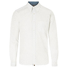 Buy Pretty Green Pelton Geometric Print Shirt, Blue/White Online at johnlewis.com