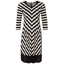 Buy Oui Chevron Knit Dress, Black/Cream Online at johnlewis.com