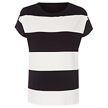 Buy Oui Stripe Sheer Back Top, Black/White Online at johnlewis.com