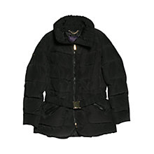 Buy Violeta by Mango Trimmed Feather Down Coat, Black Online at johnlewis.com