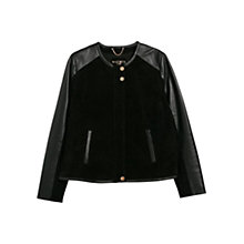 Buy Violeta by Mango Mixed Leather Jacket Online at johnlewis.com