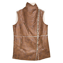 Buy Violeta by Mango Faux Shirling Gilet, Brown Online at johnlewis.com