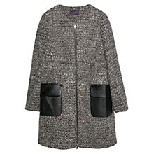 Buy Violeta by Mango Side Pocket Wool Blend Jacket, Black/White Online at johnlewis.com