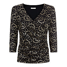 Buy Kaliko Lace Wrap Top, Black/Gold Online at johnlewis.com