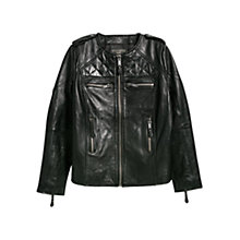 Buy Violeta by Mango Multi Pocket Leather Jacket, Black Online at johnlewis.com