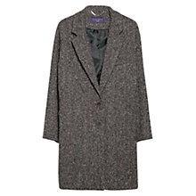 Buy Violeta by Mango Herringbone Flecked Coat, Dark Red/Grey Online at johnlewis.com