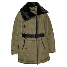 Buy Violeta by Mango Duck Down Faux Fur Collar Coat, Khaki Online at johnlewis.com