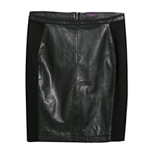 Buy Violeta by Mango Ponte Leather-Blend Skirt, Black Online at johnlewis.com