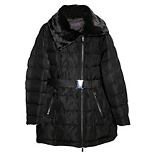 Buy Violeta by Mango Faux Fur Feather Down Coat, Black Online at johnlewis.com