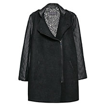 Buy Violeta by Mango Stitched Sleeve Coat, Black Online at johnlewis.com