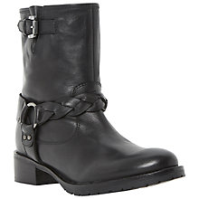 Buy Bertie Nymeria Buckle Detail Leather Biker Boots, Black Online at johnlewis.com
