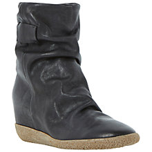 Buy Dune Black Pipper Leather Wedge Ankle Boots, Black Online at johnlewis.com