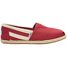 Buy TOMS University Classic Canvas Plimsolls, Red Online at johnlewis.com