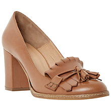 Buy Bertie Avita Fringed Leather Court Shoes, Tan Online at johnlewis.com
