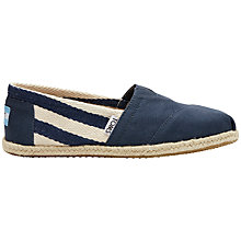 Buy TOMS University Classic Canvas Plimsolls, Navy Online at johnlewis.com
