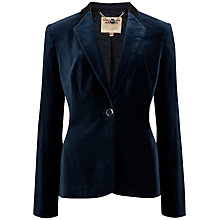 Buy Ted Baker Single Button Velvet Blazer, Dark Blue Online at johnlewis.com