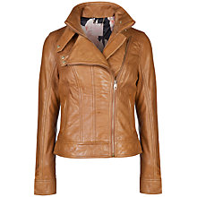 Buy Ted Baker Zip Collar Leather Jacket, Tan Online at johnlewis.com