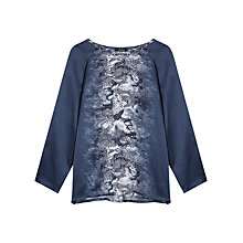Buy Gerard Darel Shirley Lizard Print Blouse, Blue Online at johnlewis.com