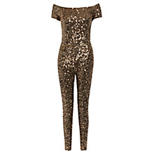 Buy French Connection Cosmic Sparkle Jumpsuit, Tiger Gold Online at johnlewis.com